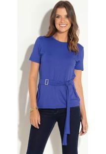 Blusa Azul Com Faixa Fixa Nas Laterais