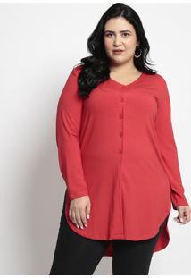 Camisa Alongada- Vermelhamelinde