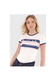 Camiseta Aeropostale Lettering Off-White/Azul-Marinho