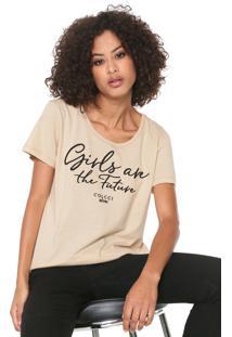 Camiseta Colcci Bordada Bege
