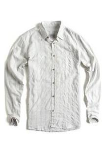 Camisa De Tecido Kame Manga Longa Off White / Azul