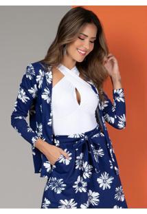 Blazer Soltinho Floral Azul Com Abertura Frontal