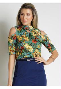 Blusa Floral Verde Com Gota Moda Evangélica