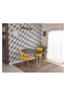 Conjunto De Mesa Dobrável Retrátil 1,40 Preto/Noronha Inox + 2 Cadeiras Gomos - Amarela
