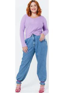 Blusa Cropped Almaria Plus Size Tal Qual Canelada