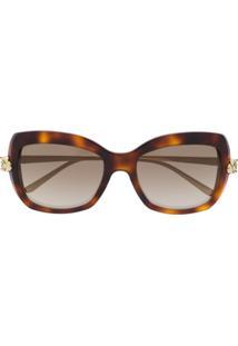 Cartier Óculos De Sol Quadrado - Marrom