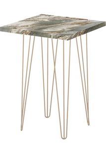 Mesa Lateral Quadrada 62 Petra Pé De Ferro Dourado - Líder Design