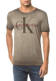 Camiseta Ckj Mc Estampa Ck Peito - Oliva - Pp