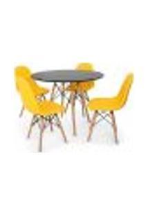 Conjunto Mesa Eiffel Preta 90Cm + 4 Cadeiras Dkr Charles Eames Wood Estofada Botonê Amarela