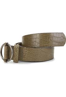 Cinto Couro Shoestock Fivela Argola Feminino - Feminino-Verde