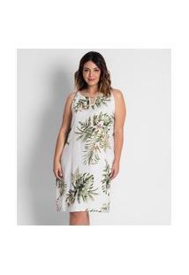 Vestido Floral Plus Size Secret Bege