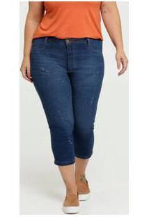 Calça Feminina Jeans Puídos Capri Plus Size