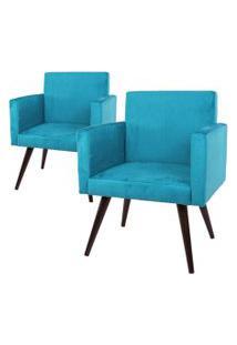 Kit 02 Poltronas Decorativa Pés Palito Tabaco Nina Suede Azul - Ds Móveis
