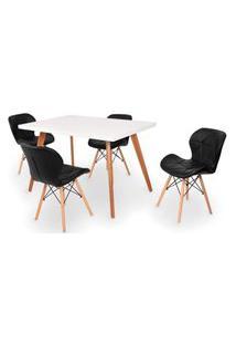 Conjunto Mesa De Jantar Gih 120X80Cm Branca Com 4 Cadeiras Slim - Preto