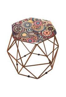 Puff Aramado Bronze Assento Hexagonal Suede Mosaico - Ds Móveis