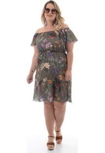 Vestido Jasmim Verde Plus Size
