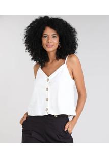Regata Feminina Em Linho Com Botões Decote V Off White