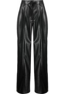 Nanushka Calça Pantalona Cleo Cintura Alta - Preto