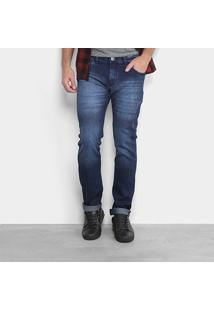 Calça Jeans Skinny Preston Escura Puídos Masculina - Masculino-Azul