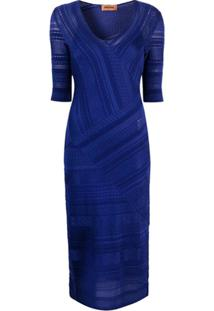 Missoni Vestido De Tricô Com Padronagem - Azul