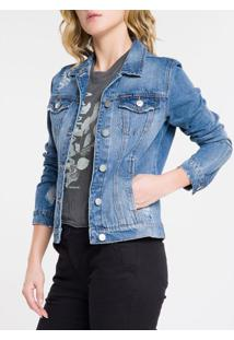 Jaqueta Jeans Trucker - Azul Médio - M