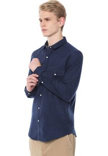 Camisa Calvin Klein Jeans Slim Fit Azul