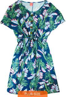 Vestido Azul Curto Folhagens Com Botões