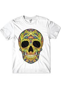 Camiseta Long Beach Caveira Psicodélica Sublimada Masculina - Masculino-Branco