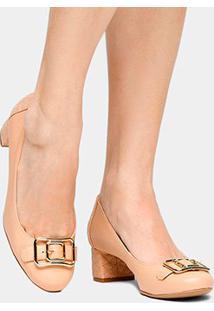 Scarpin Couro Shoestock Salto Médio Matelassê Fivela - Feminino-Nude