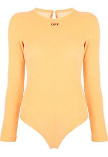 Off-White Body Com Estampa De Logo - Laranja