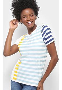 Camiseta Lacoste Listrada Feminina - Feminino-Azul+Amarelo