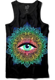 Camiseta Regata Long Beach Psicodélica Olho Que Tudo Vê Sublimada Preto