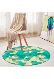 Tapete Redondo Wevans Abstrato Verde
