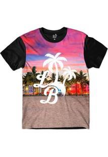 Camiseta Long Beach Lb Praia Sublimada Masculina - Masculino-Rosa+Preto