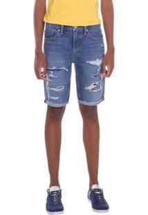 Bermuda Jeans Levis 511 Slim Cut Off Lavagem Média Masculina - Masculino-Azul