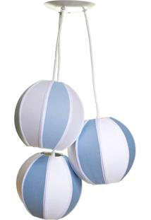Lustre Pendente 3 Bolinhas Quarto Bebê Infantil Menino Potinho De Mel Azul - Kanui