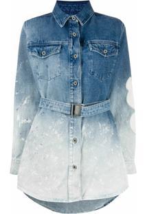 Off-White Chemise Jeans Azul Degradê De Algodão