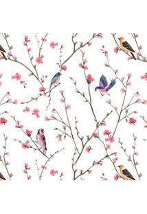 Papel De Parede Stickdecor Adesivo Floral Passarinhos 3Mt A 1,00Mt L