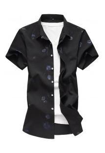 Camisa Masculina Com Estampa De Rosas - Preto