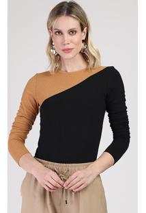 Blusa Feminina Canelada Bicolor Manga Longa Decote Redondo Preta