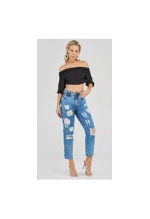 Calça Jeans Express Mom Cenoura Royal Azul
