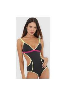 Body Colcci Underwear Color Block Neon Preto/Amarelo
