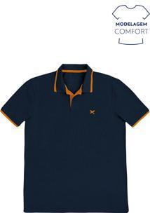 Camisa Polo Básica Masculina Em Malha Piquet Com Bordado