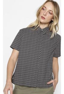 Camisa Folhas Com Bordado - Preta & Rosãªcalvin Klein