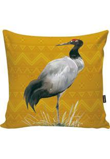 Capa De Almofada Fauna- Amarela & Branca- 45X45Cm