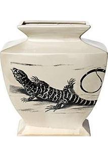 Vaso Decorativo Lizzard G Nusa Dua Bege - (38X34X16Cm)