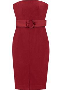 Vestido Tomara Que Caia Cinto Tecido Vermelho Strawberry - Lez A Lez
