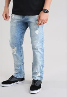 Calça Jeans Slim Destroyed Com Algodão + Sustentável Azul Claro