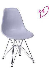Or Design Jogo De Cadeiras Eames Dkr Cinza & Prateado 4Pã§S