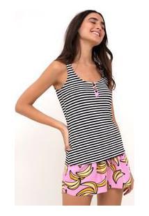 Pijama Listrado Com Short Banana